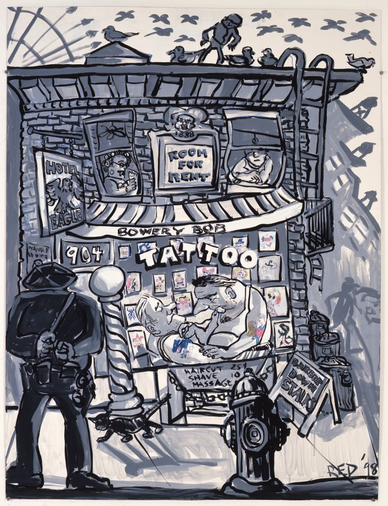 acrylic on board work by Red Grooms in mostly black and white featuring the outside view of a tattoo parlor and a person with his hands behind is back and looking inside the shop as the artist works on his client