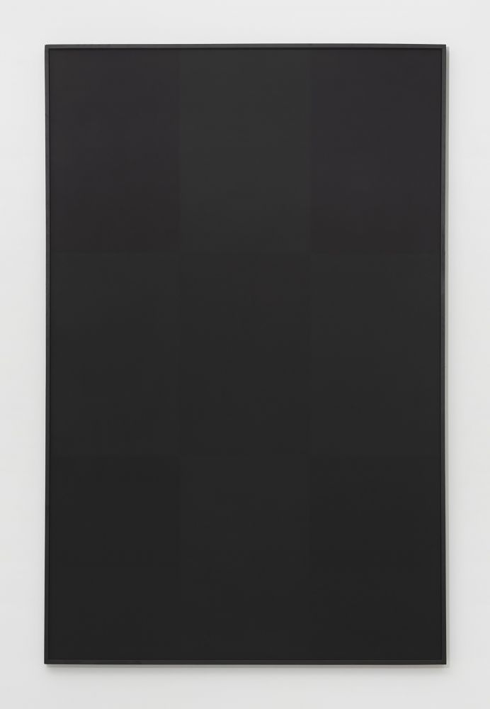 Oil on canvas painting by Ad Reinhardt featuring subtle different black tones