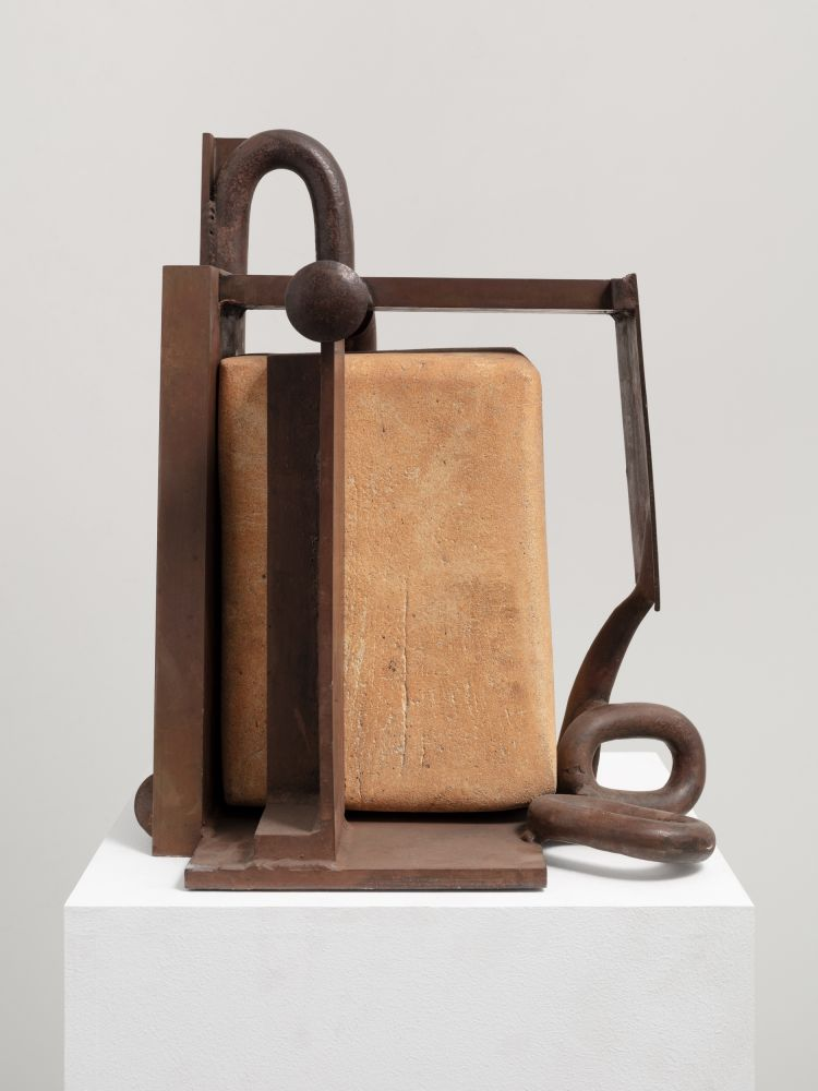 Stoneware sculpture by Anthony Caro featuring a block enclosed by a structure