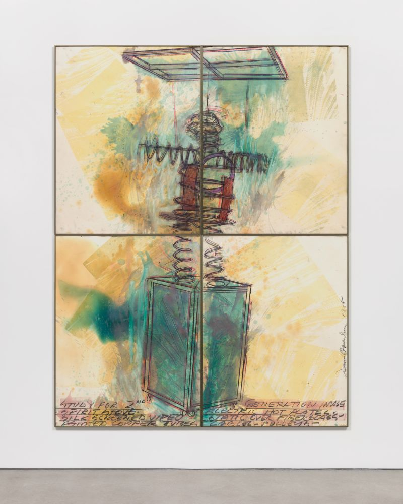 Four paneled sketch of sculpture with humanlike figure and dark blue rectangular box by Dennis Oppenheim.