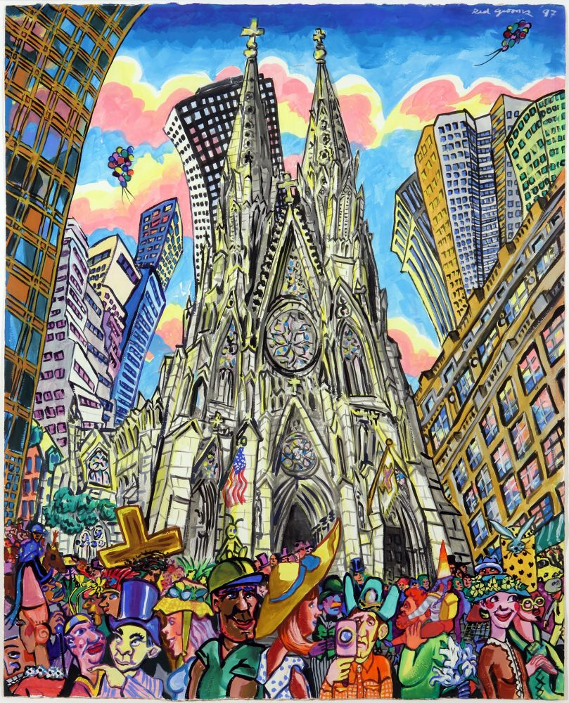 Painting depicting St. Patricks Cathedral using vibrant colors and exaggerated perspective by Red Grooms.