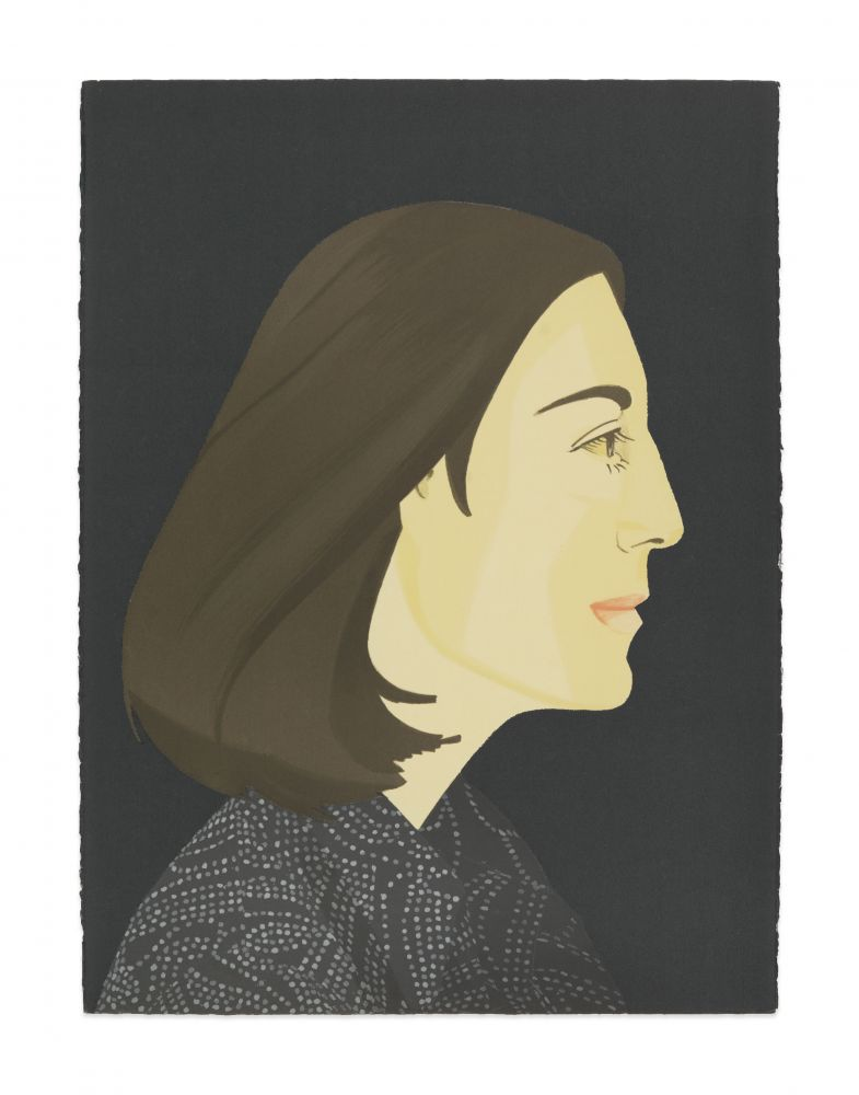 Color silkscreen with lithograph portrait by Alex Katz featuring the profile view of a woman with brown shoulder length hair and wearing a black and grey speckled top against a navy blue background