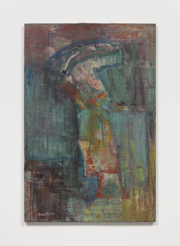 Abstract oil painting depicting a walking figure with hues of blue and red.
