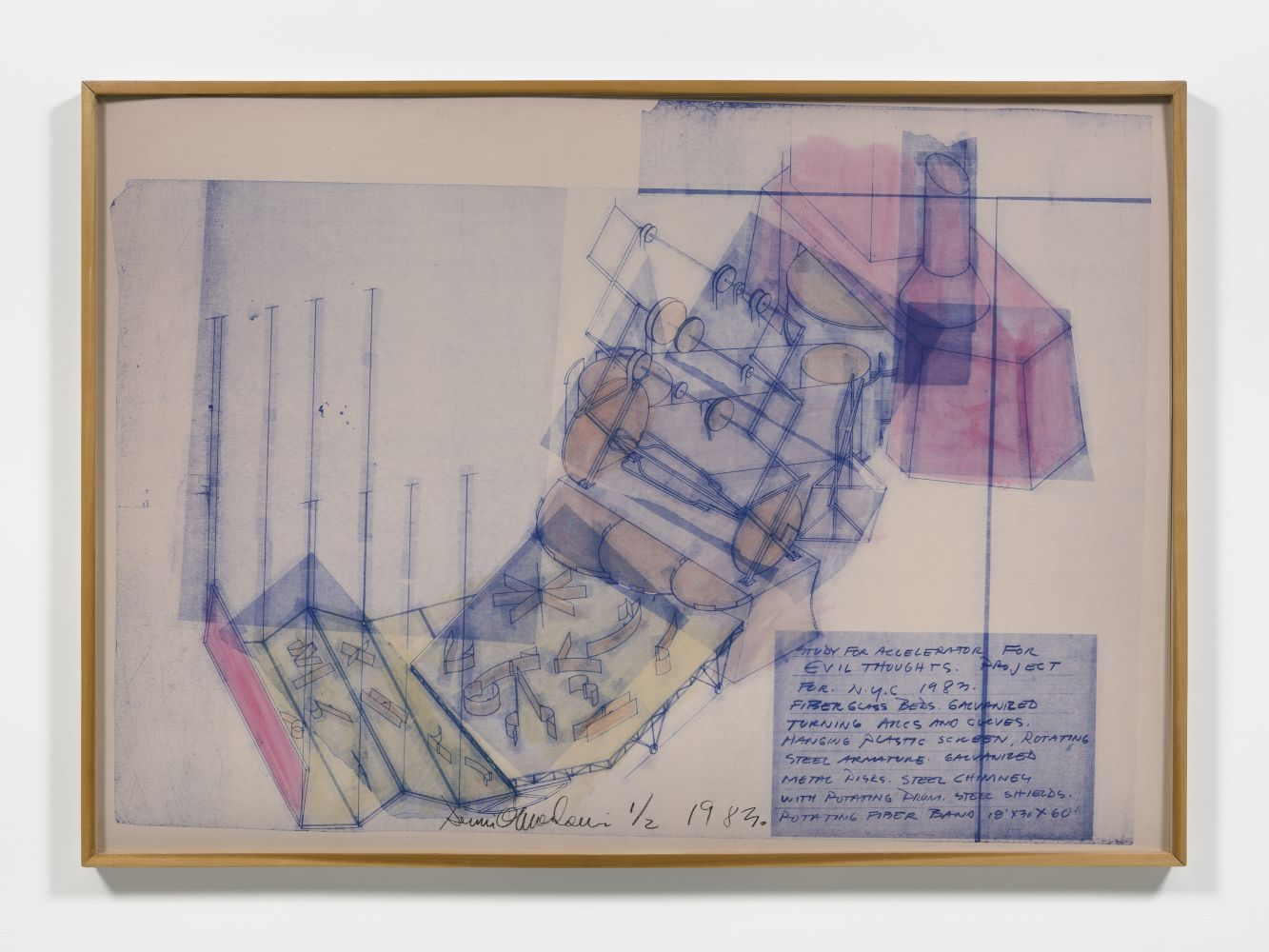 Blue and red hand tinted line print on linen depicting rotating sculpture by Dennis Oppenheim.