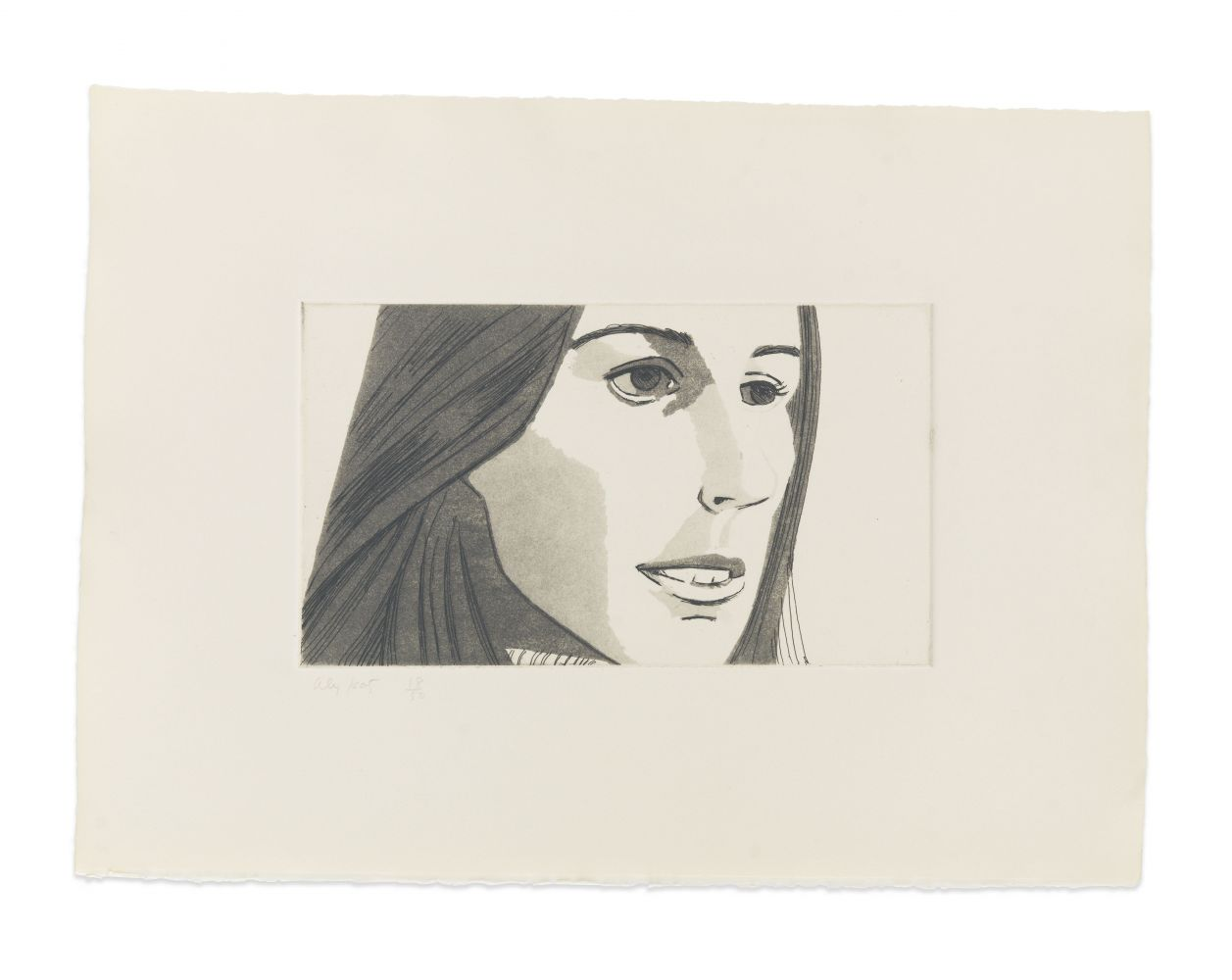 Aquatint by Alex Katz of a portrait of a woman at 3/4 view featuring her mouth slightly open and showing her top teeth