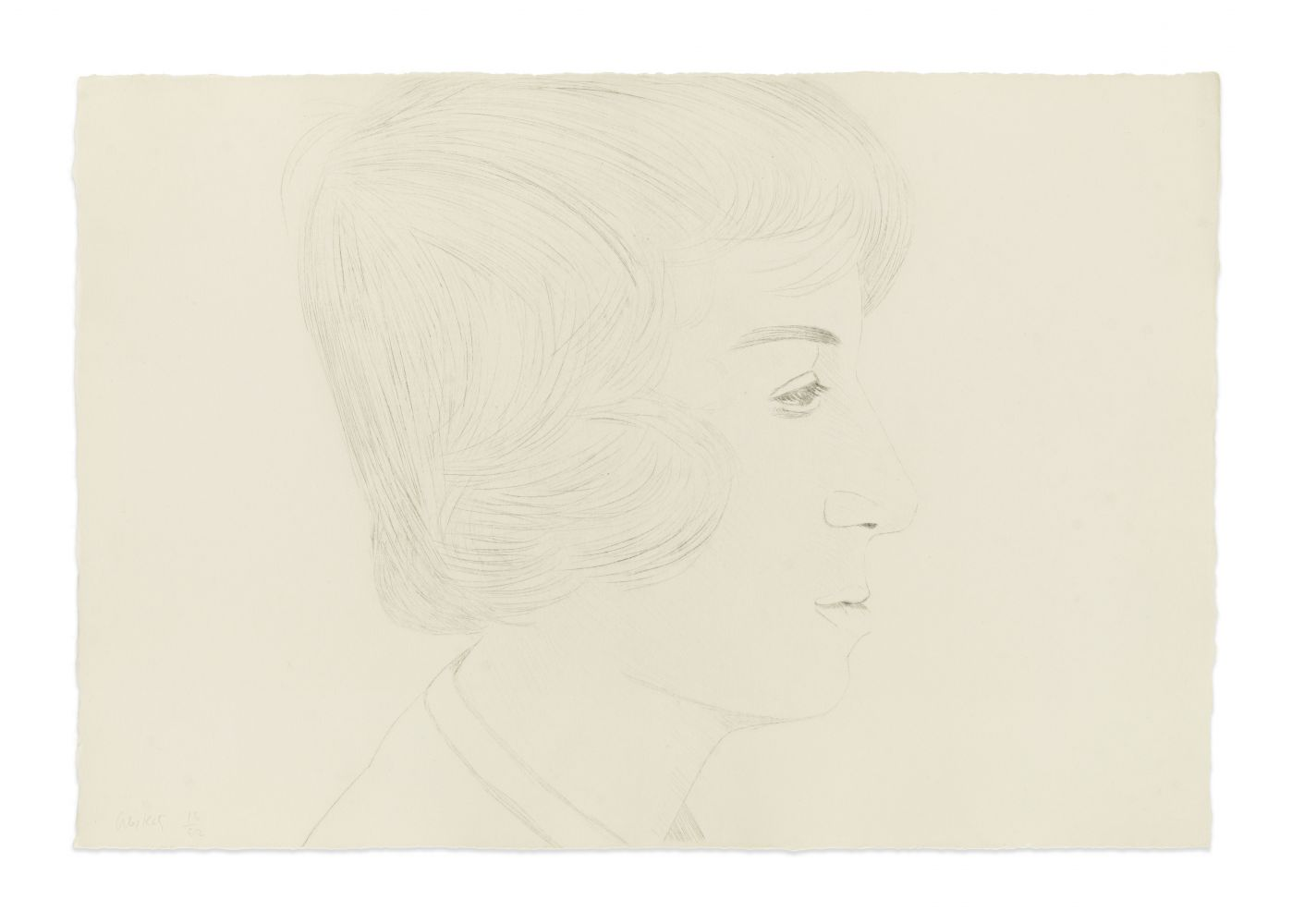 Drypoint drawing by Alex Katz featuring the profile view of a man