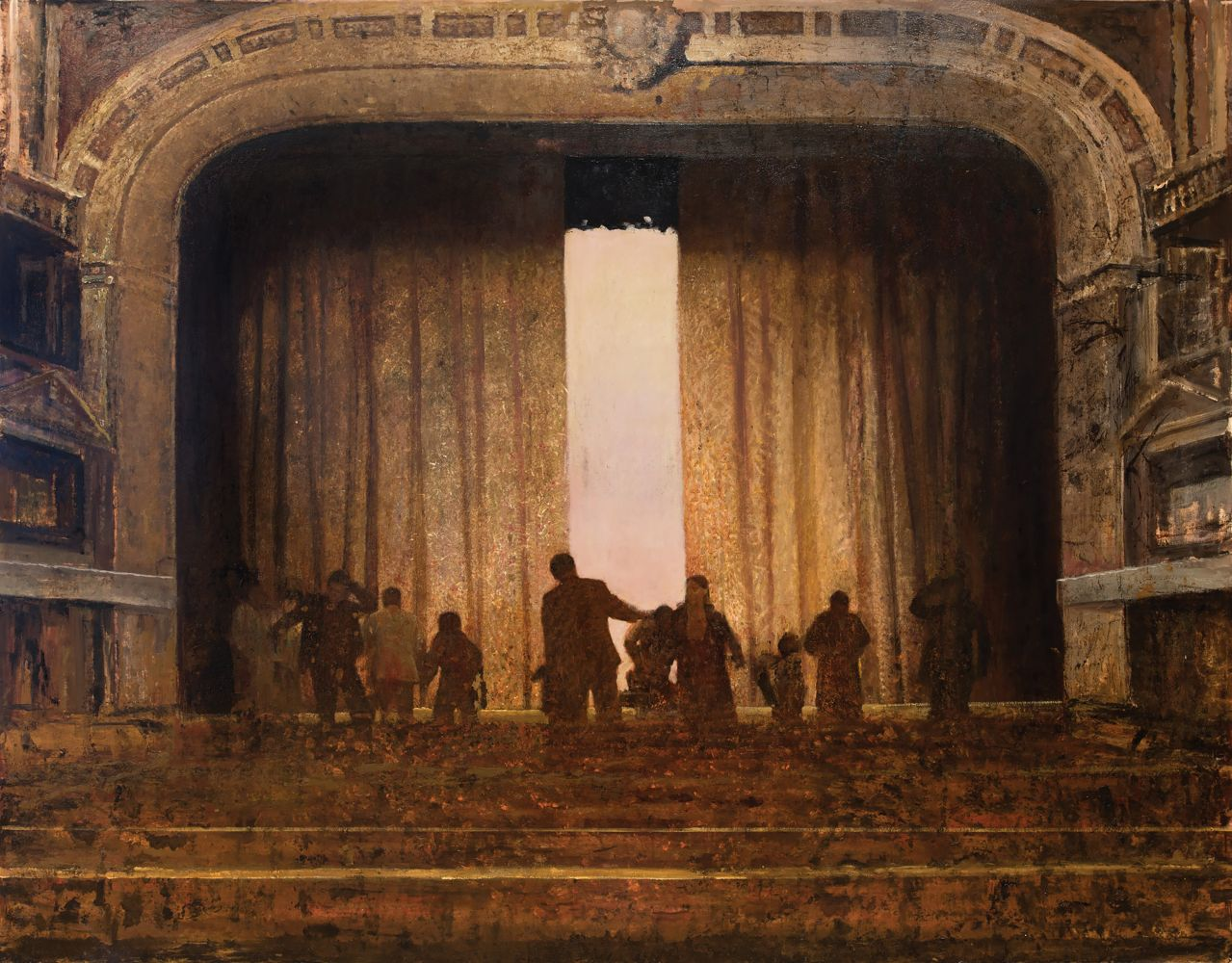 Oil painting of shadowy figures dancing on the theater stage.