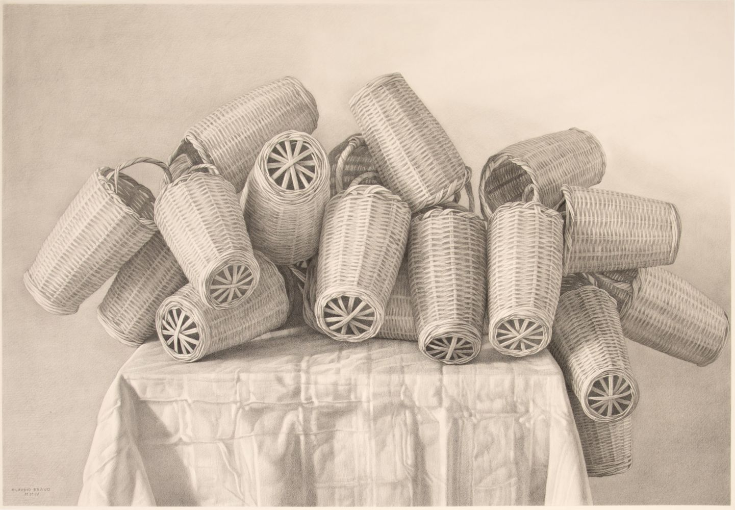 Pencil sketch of wooden baskets atop a table.