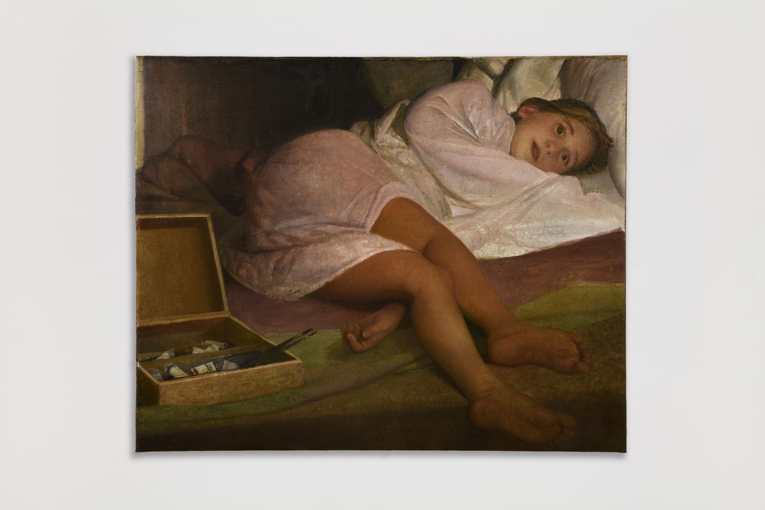 Oil painting of paint box next to a sleeping child by Vincent Desiderio.