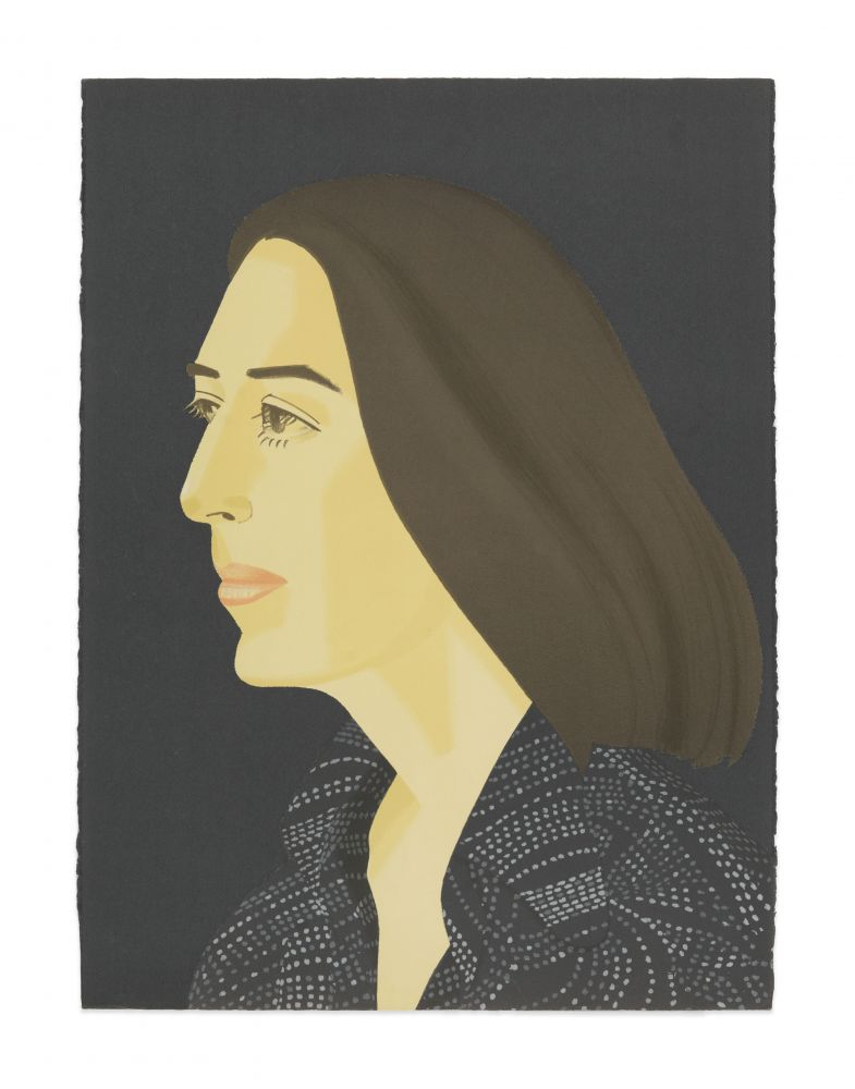 Color silkscreen with lithograph by Alex Katz featuring a 1/4 profile view of a woman with brown shoulder length hair wearing a black and grey speckled top against a navy blue background