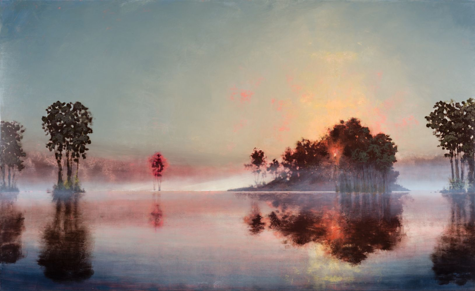 Landscape painting depicting the sun's reflection onto foggy water with pink hues by Stephen Hannock.