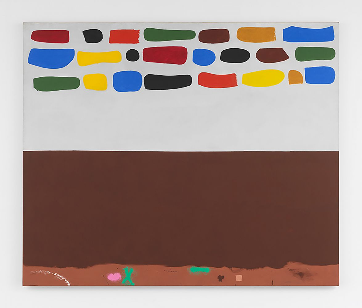 Oil on canvas painting by Adolph Gottlieb featuring half of the canvas with brown and the other half with swatches of yellow, blue, green and orange