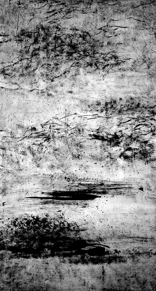 Lao Dan black and white landscape scene using ink on rice paper