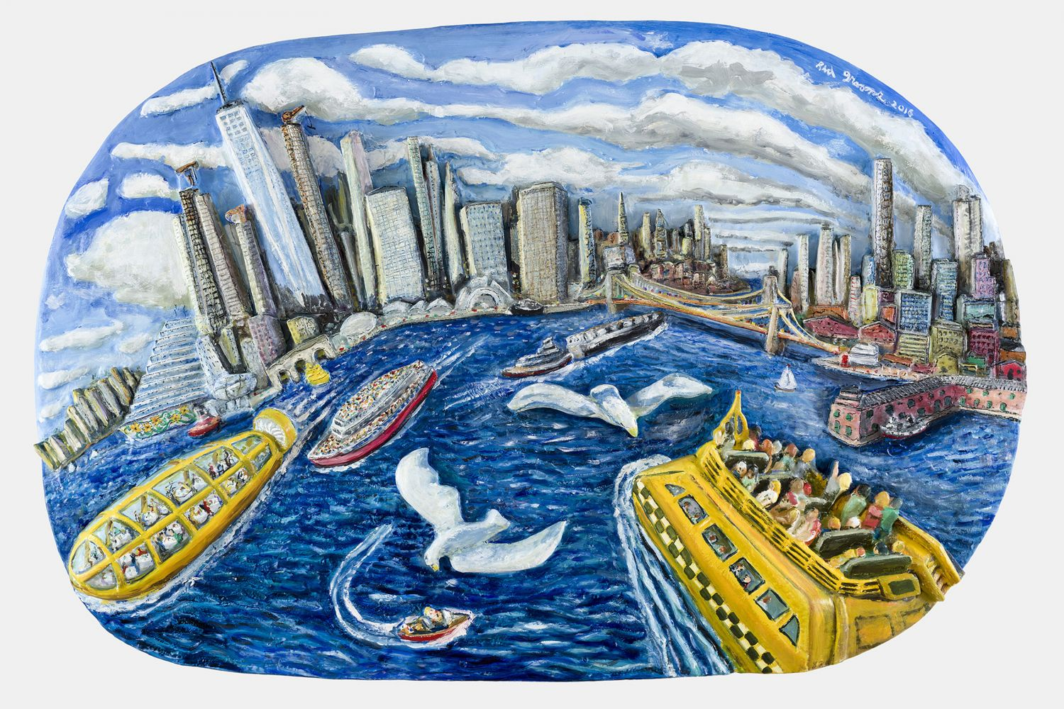Acrylic, ink and epoxy mounted on wood artwork by Red Grooms of the New York Harbor with people on yellow boats and seagulls flying