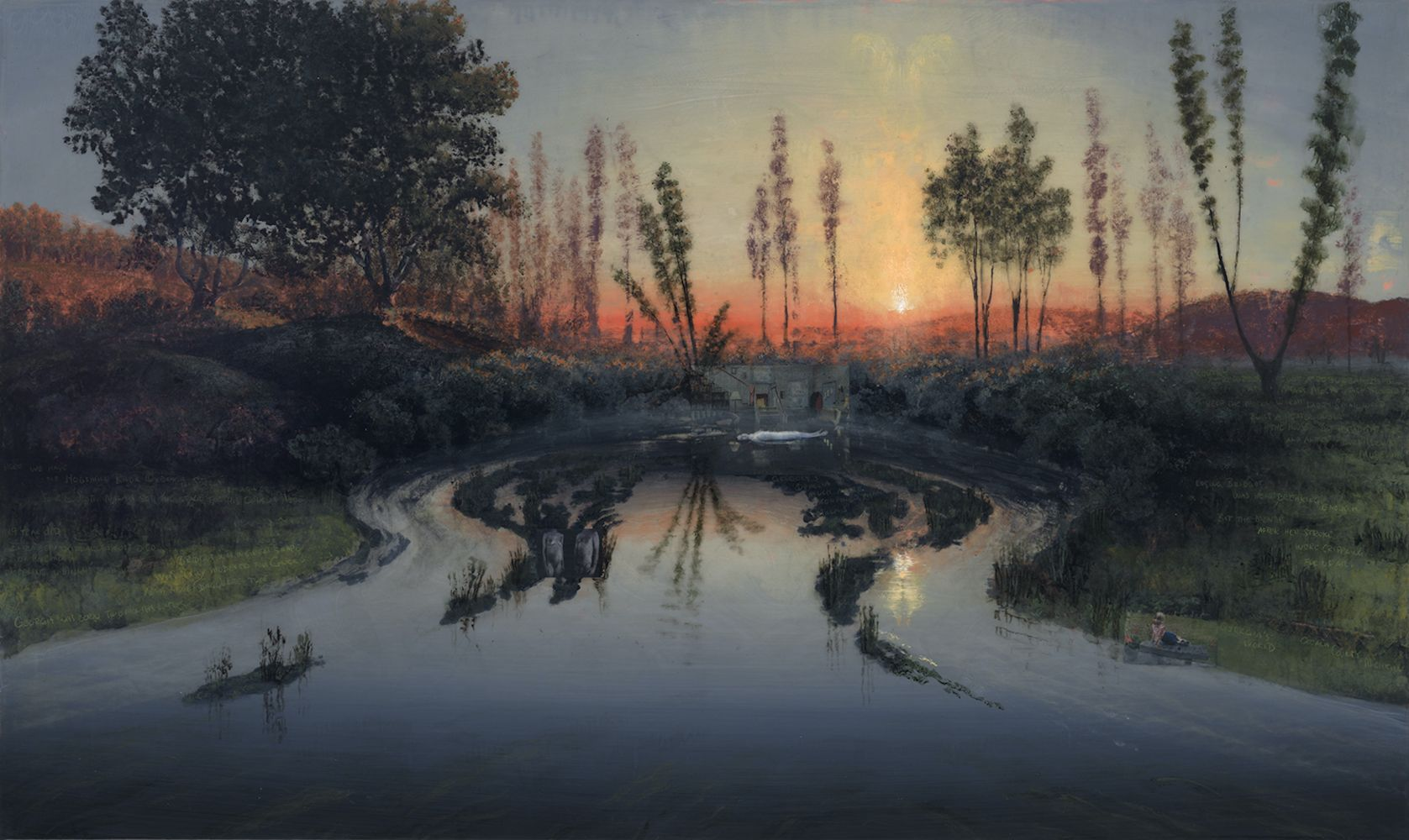 Landscape painting depicting the Hogsmill River Oxbow and the reflection of the sunset by Stephen Hannock.