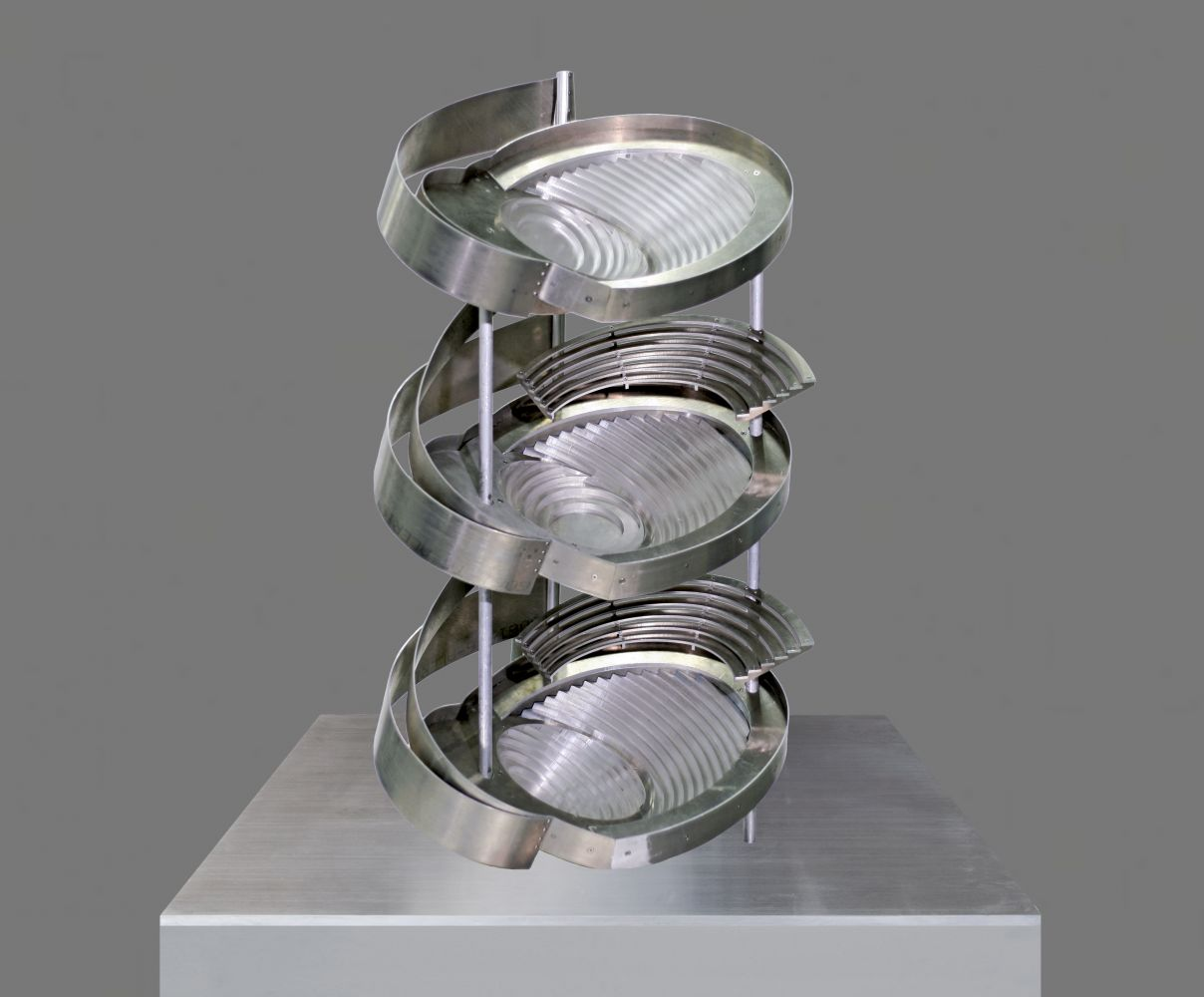 three-tier aluminum sculpture by Alice Aycock