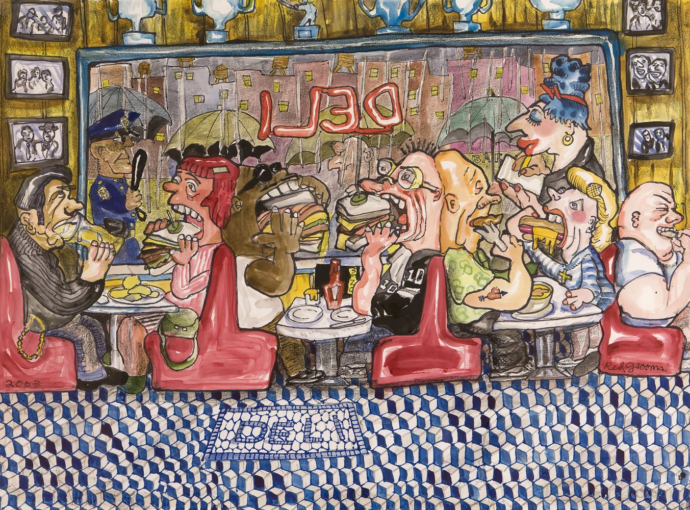 Ink and crayon on paper artwork by Red Grooms of people eating inside of a deli and emphasizing their large bites of food such as sandwiches and hot dogs