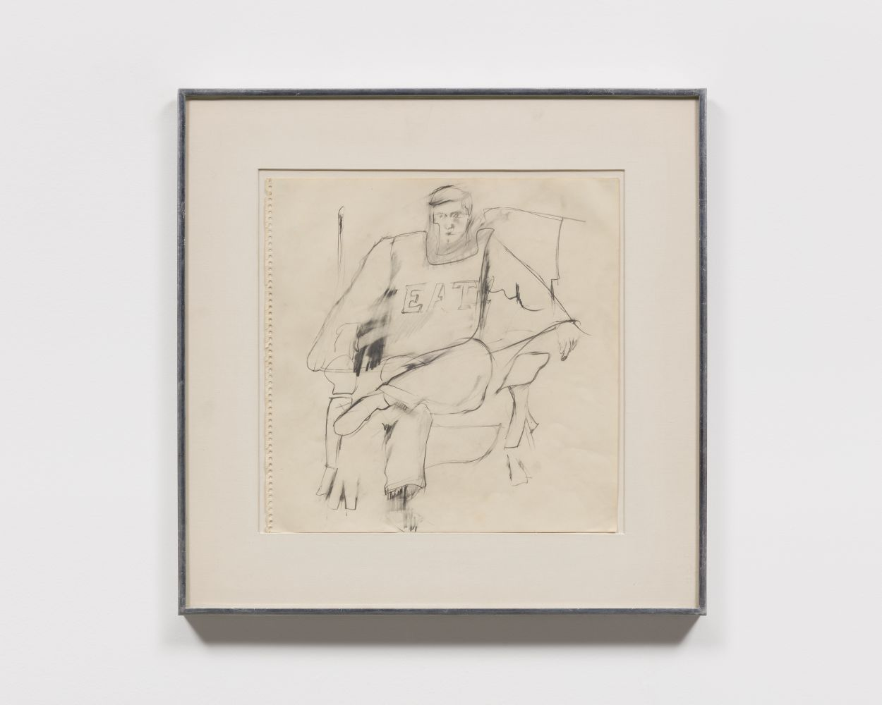 "Graphite drawing of a seated figure wearing a shirt in ""EAT"" lettering"