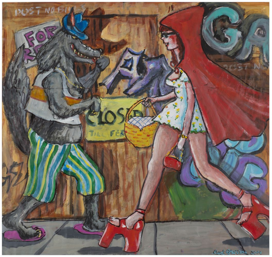 Charcoal, acrylic and crayon on paper artwork by Red Grooms of a woman with red hair walking on the street wearing a short yellow dress with flowers, a red hooded cape with red platform heeled sandals and passing a wolf dressed in striped pants, a white and orange vest, and pink sandals