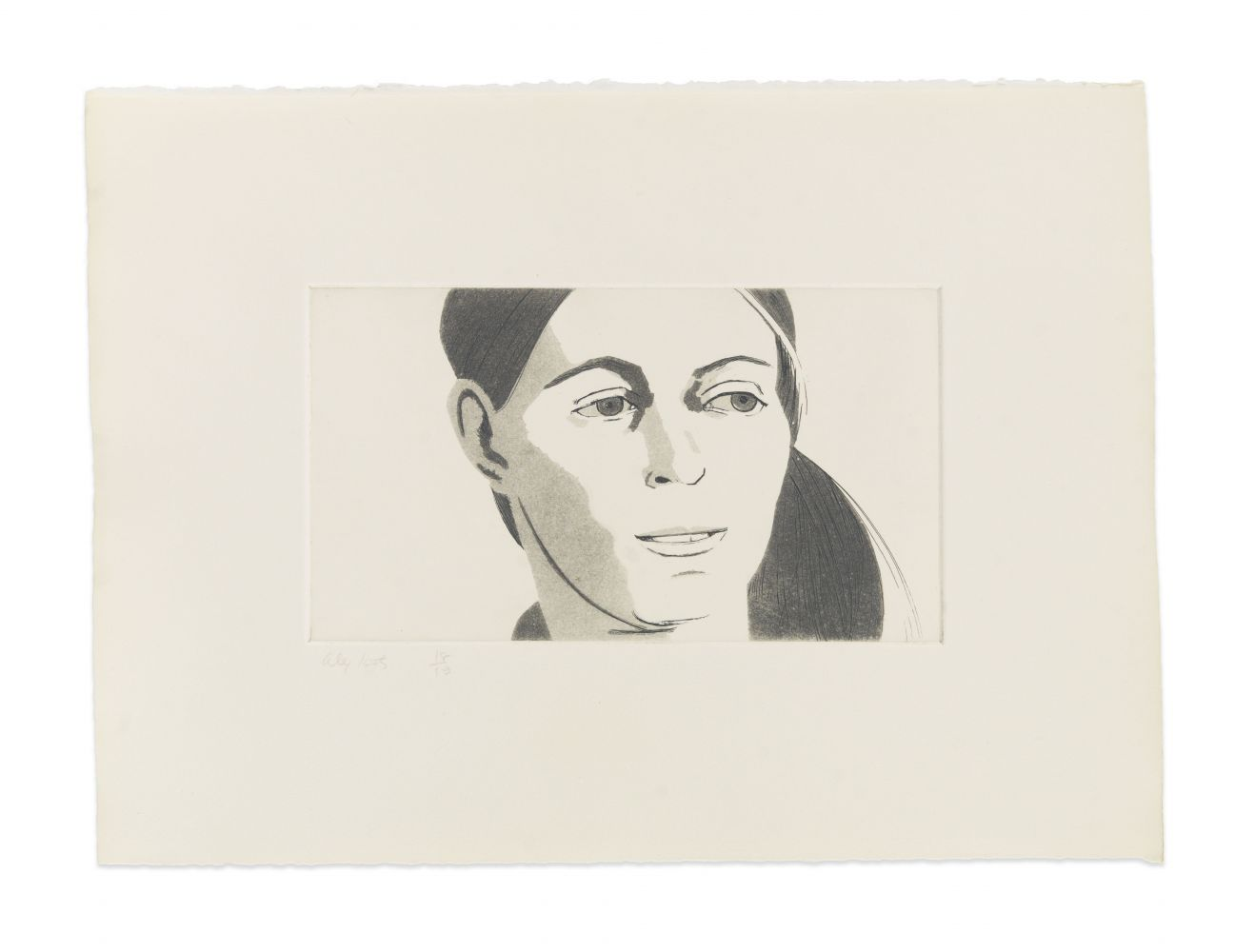 Aquatint by Alex Katz o a portrait of a woman with her hair in a side ponytail