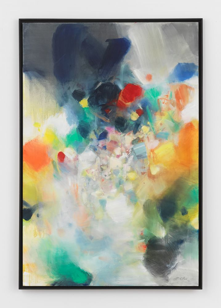 Oil on canvas wrk by Chu Teh-Chun featuring various color swatches ranging in blues, yellows, greens, ands reds