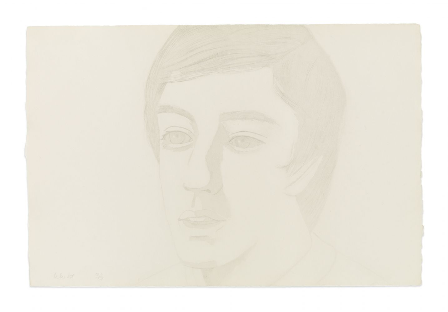 Drypoint portrait by Alex Katz featuring a faint 3/4 view of a man with his mouth slightly open