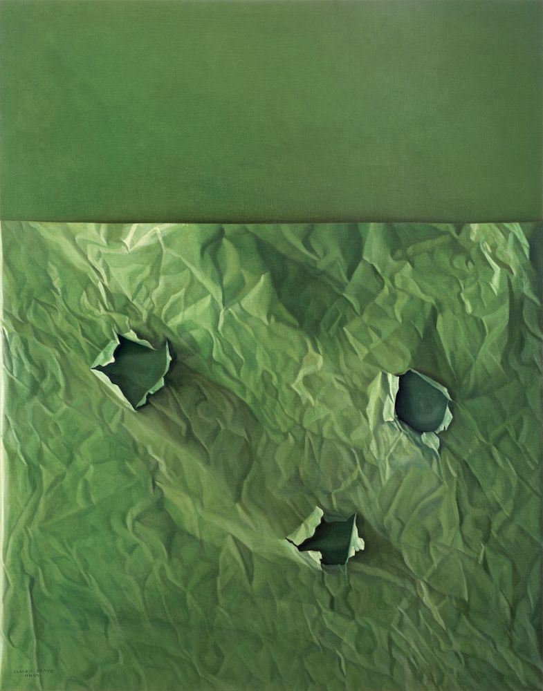 Green monochromatic oil painting of paper with three holes.