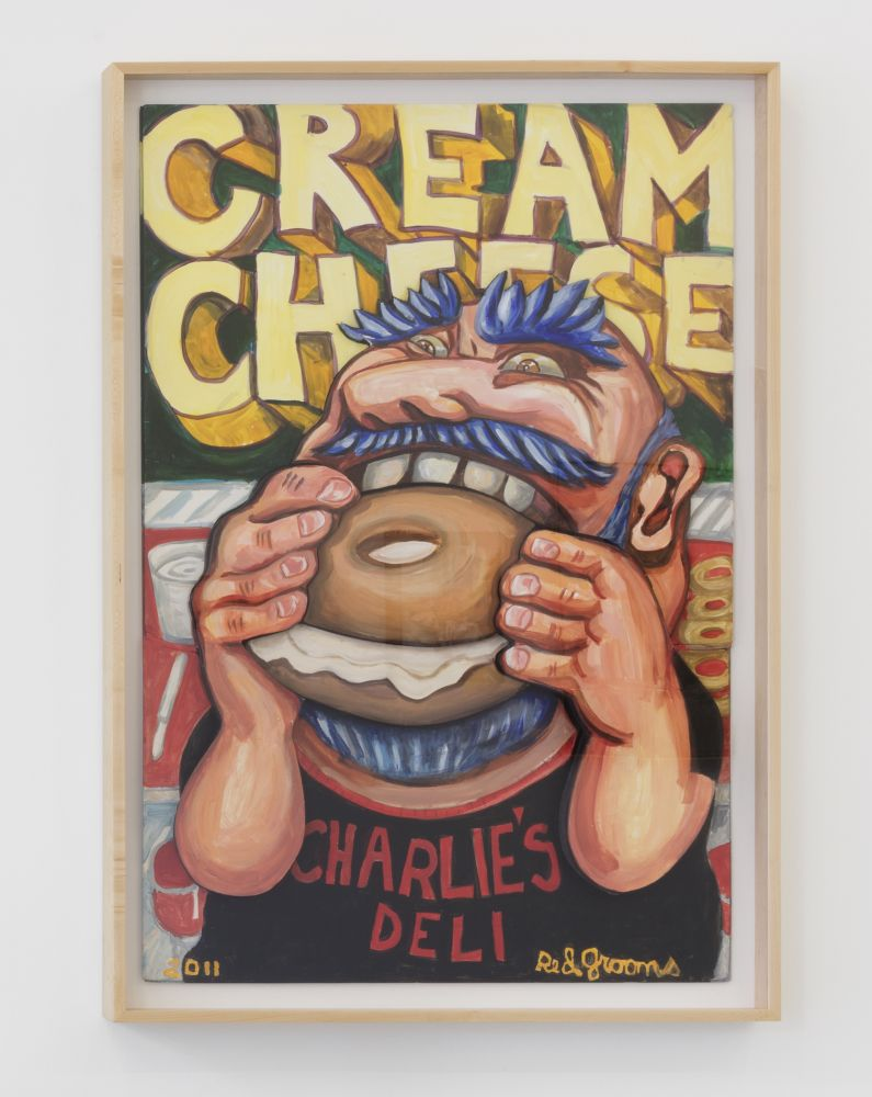 "Framed acrylic on board artwork by Red Grooms featuring a portrait of a man with blue hair and wearing a Charlie's Deli shirt, eating a cream cheese bagel against a background that spells ""Cream Cheese"" in bold yellow lettering"