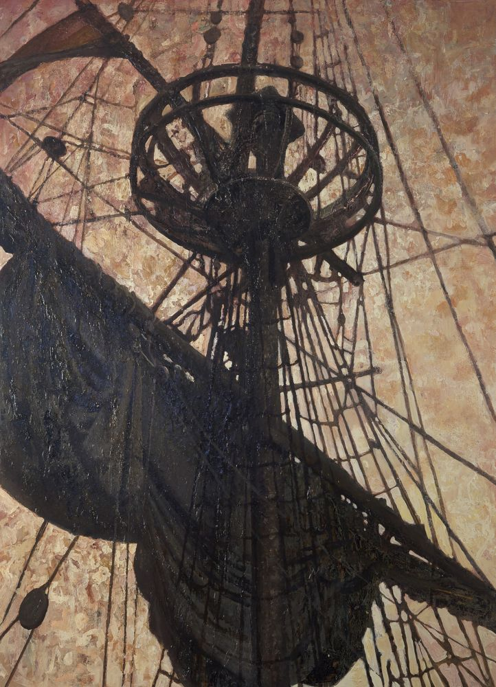 Oil painting of ship mast on the horizon by Vincent Desiderio.