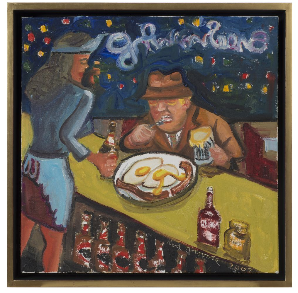Framed oil on canvas artwork by Red Grooms featuring a man in a brown suit and hat eating eggs and bacon in a diner at night and being served by a waitress dressed in blue