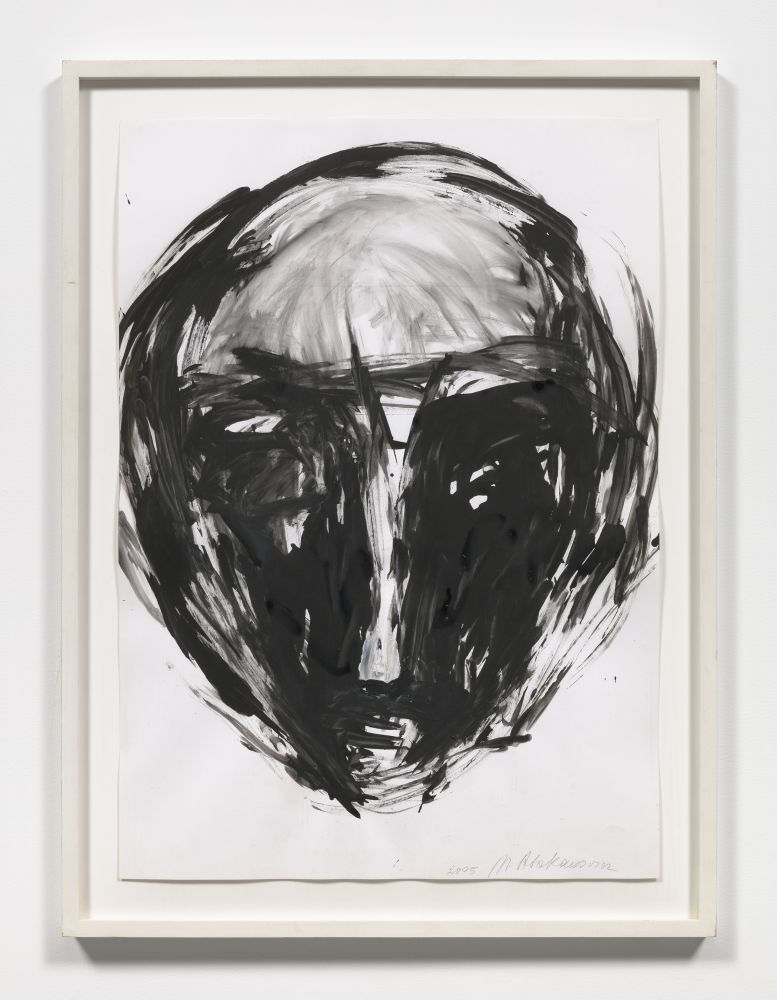 Gouache painting on paper of a face by Magdalena Abakanowicz