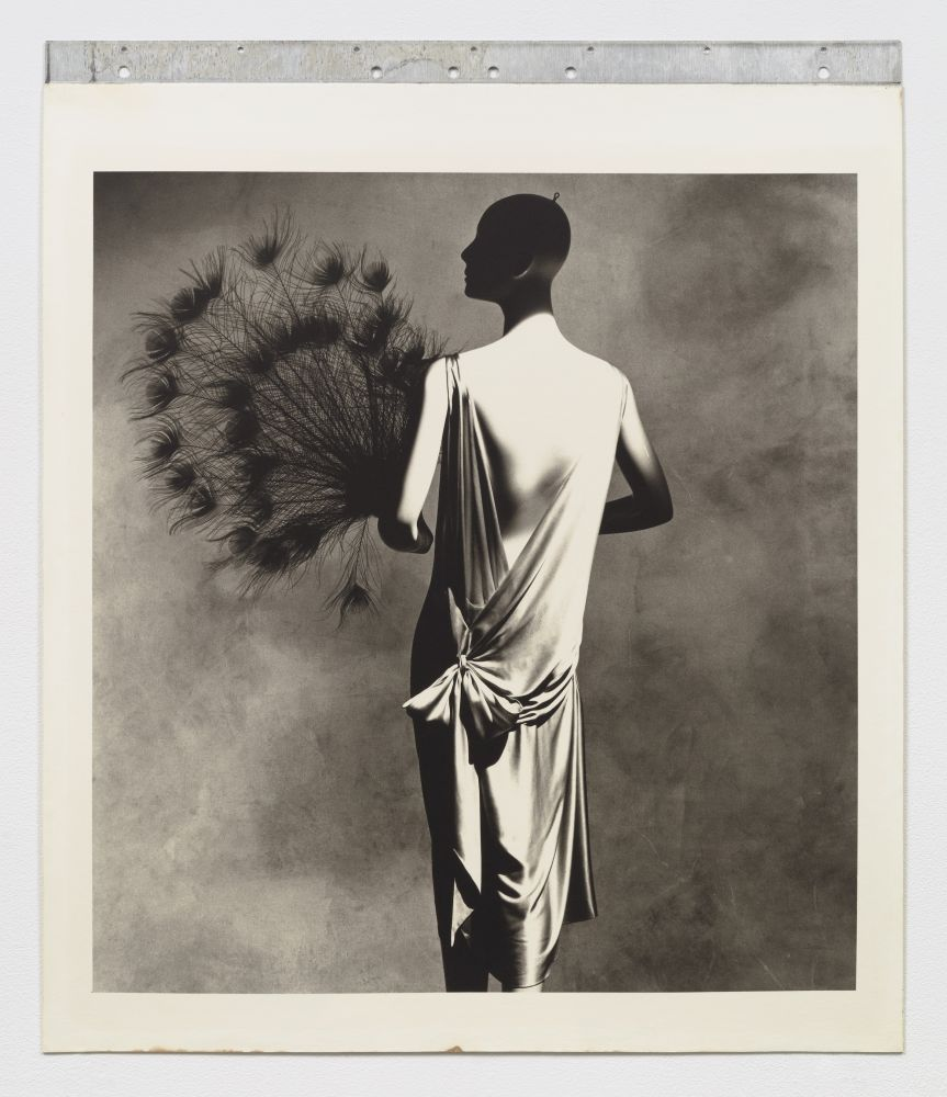Black and white photographic portrait of back-facing woman with plume fan.