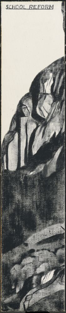 Vertical black and white painting with shadowy cliffs by R.B. Kitaj.
