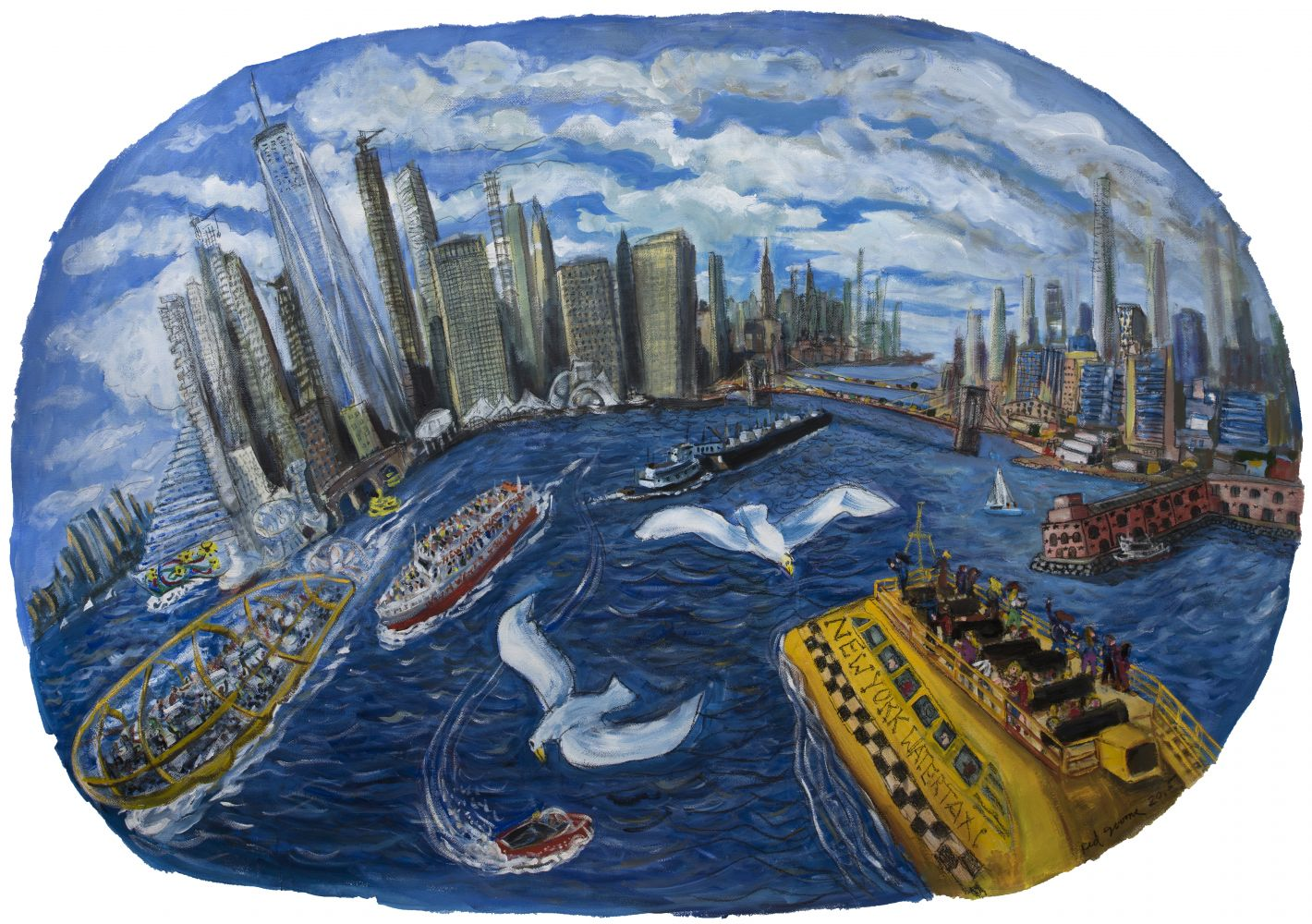 Watercolor and pastel on paper study by Red Grooms of the New York Harbor with people on yellow boats and seagulls flying