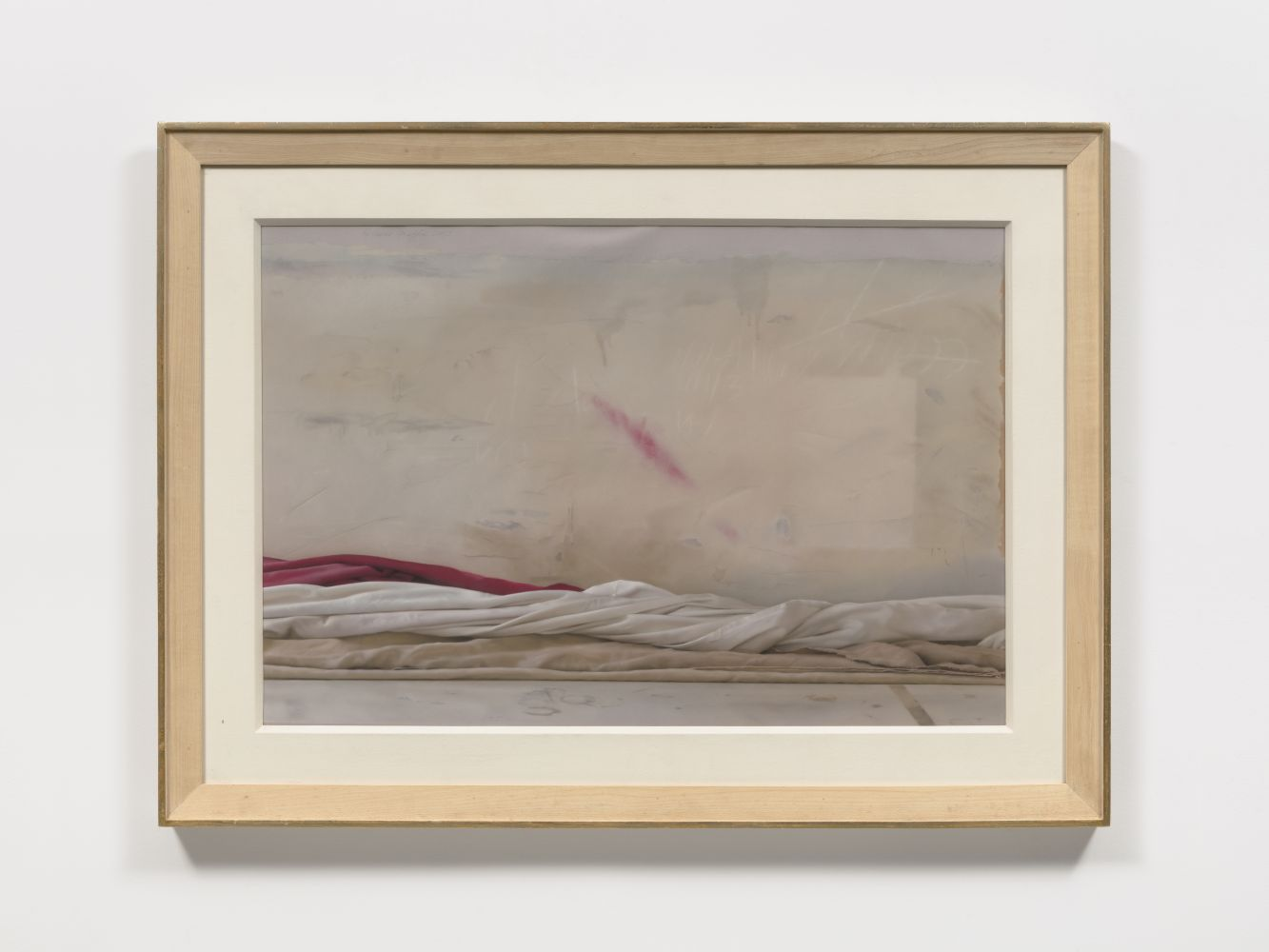 Pastel on paper work by Ricardo Maffei featuring a hyper-realistic rendering of white, beige and red cloth