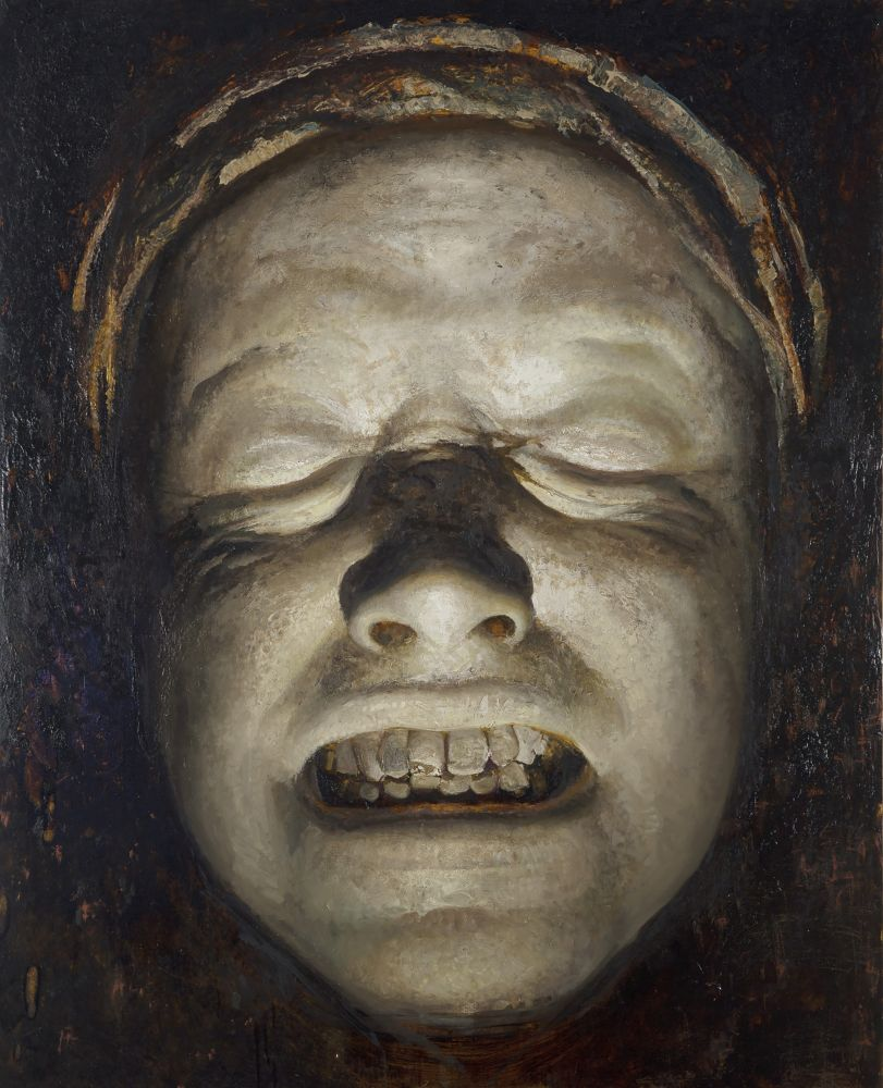 Oil painting of pale figure sneering their teeth with no eyes by Vincent Desiderio.