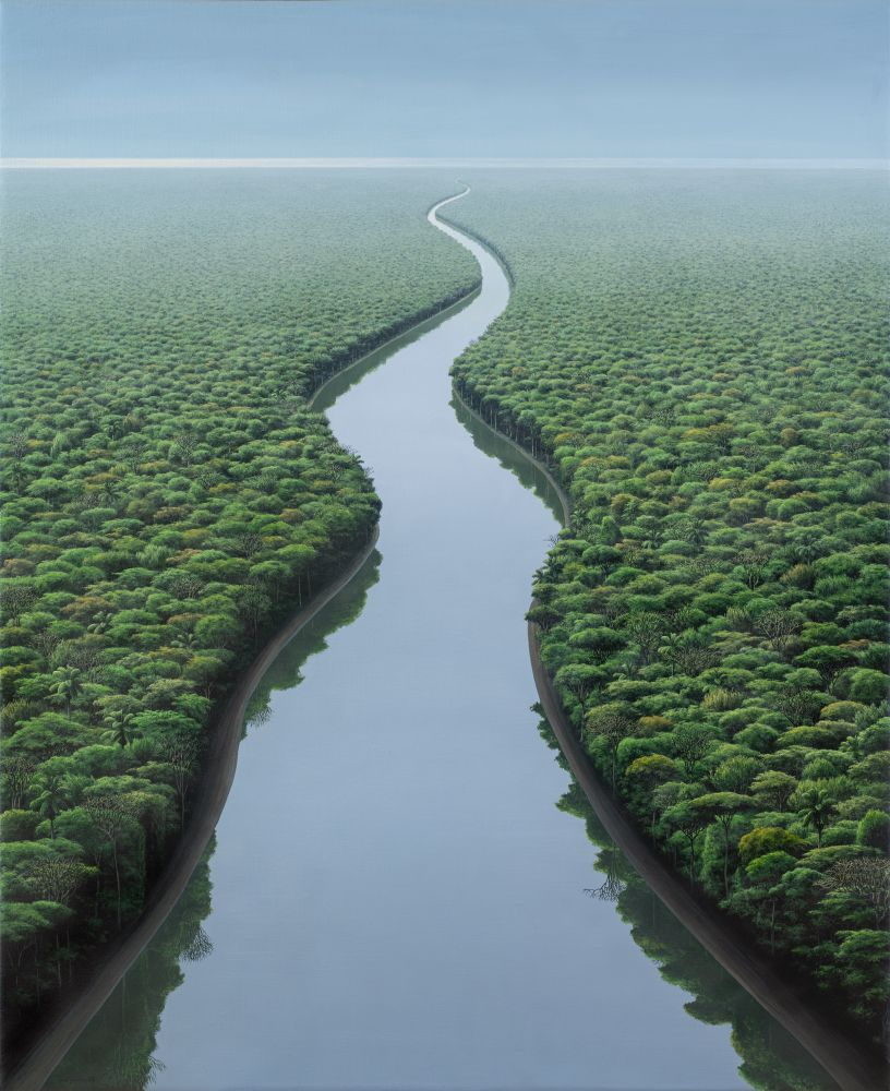 Landscape painting of winding river surrounding by trees with vanishing perspective by Tomás Sánchez.