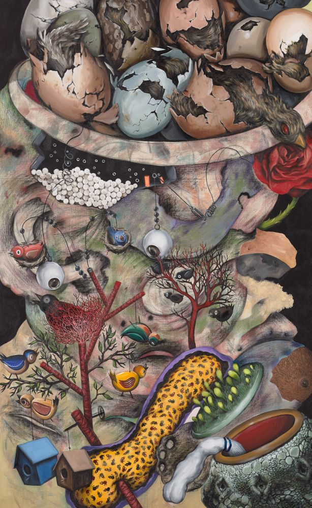 Acrylic, charcoal, colored pencil on canvas by Ahmed Alsoudani featuring birds, eggs, birdhouses, trees, and eyes