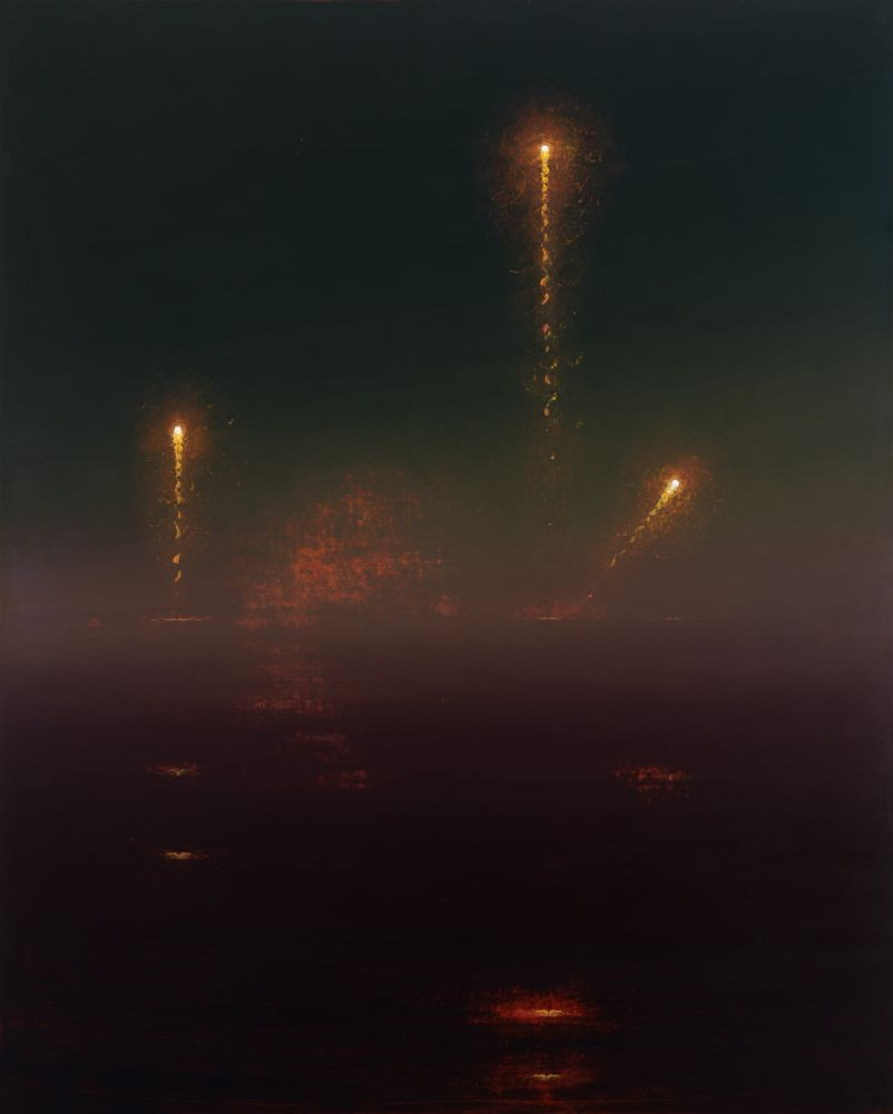 Dark landscape painting with bright rockets flying through the evening fog by Stephen Hannock.