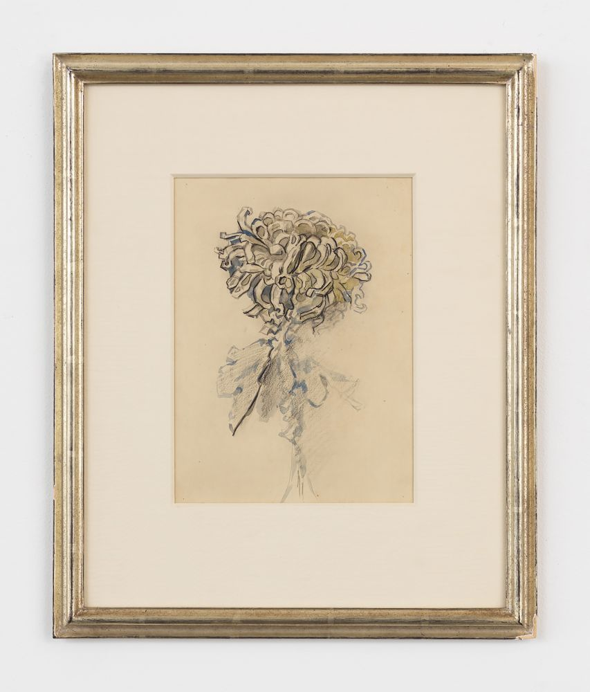 Framed and mounted watercolor and pencil on paper drawing of a chrysanthemum flower by Piet Mondrian