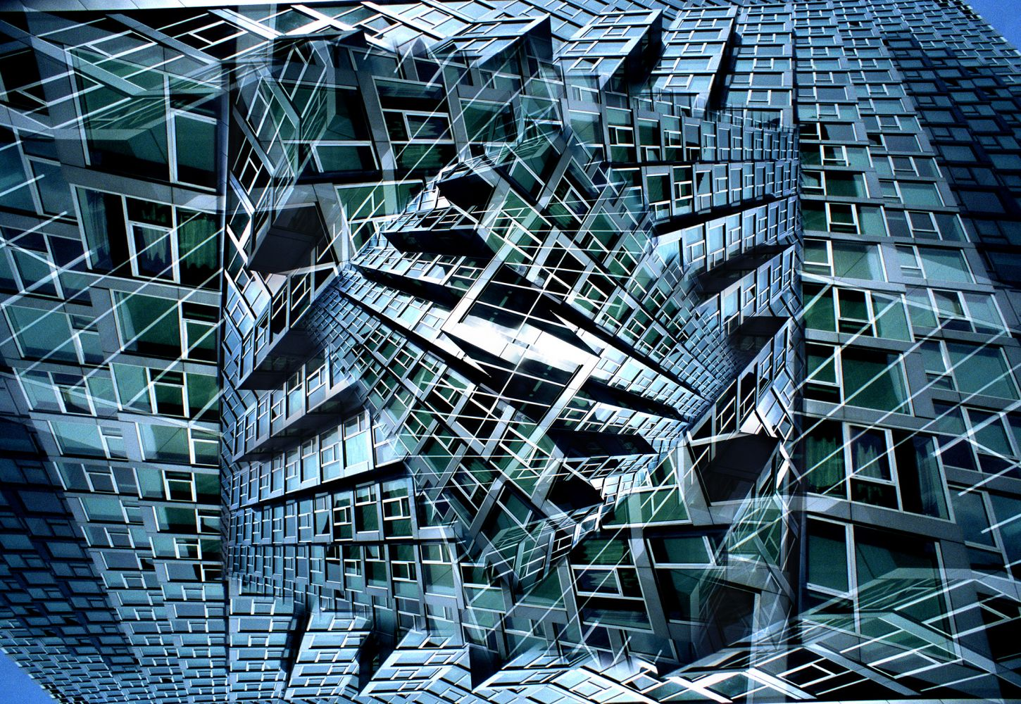 Chromaluxe brilliant print of a kaleidoscopic abstract image featuring a building