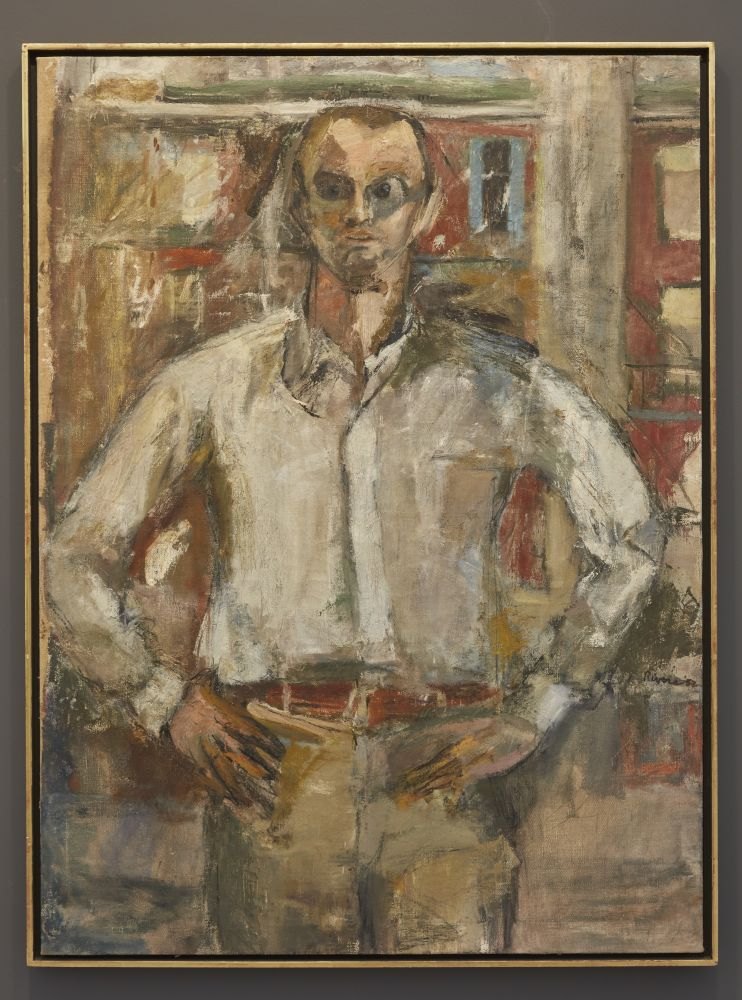 Framed oil on canvas portrait of Frank O'Hara standing with his hands on his hips and wearing a white collard shirt and sunglasses in an urban setting