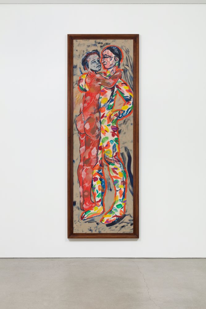 Two nude figures embracing each other with abstract colors and lines by R.B. Kitaj.