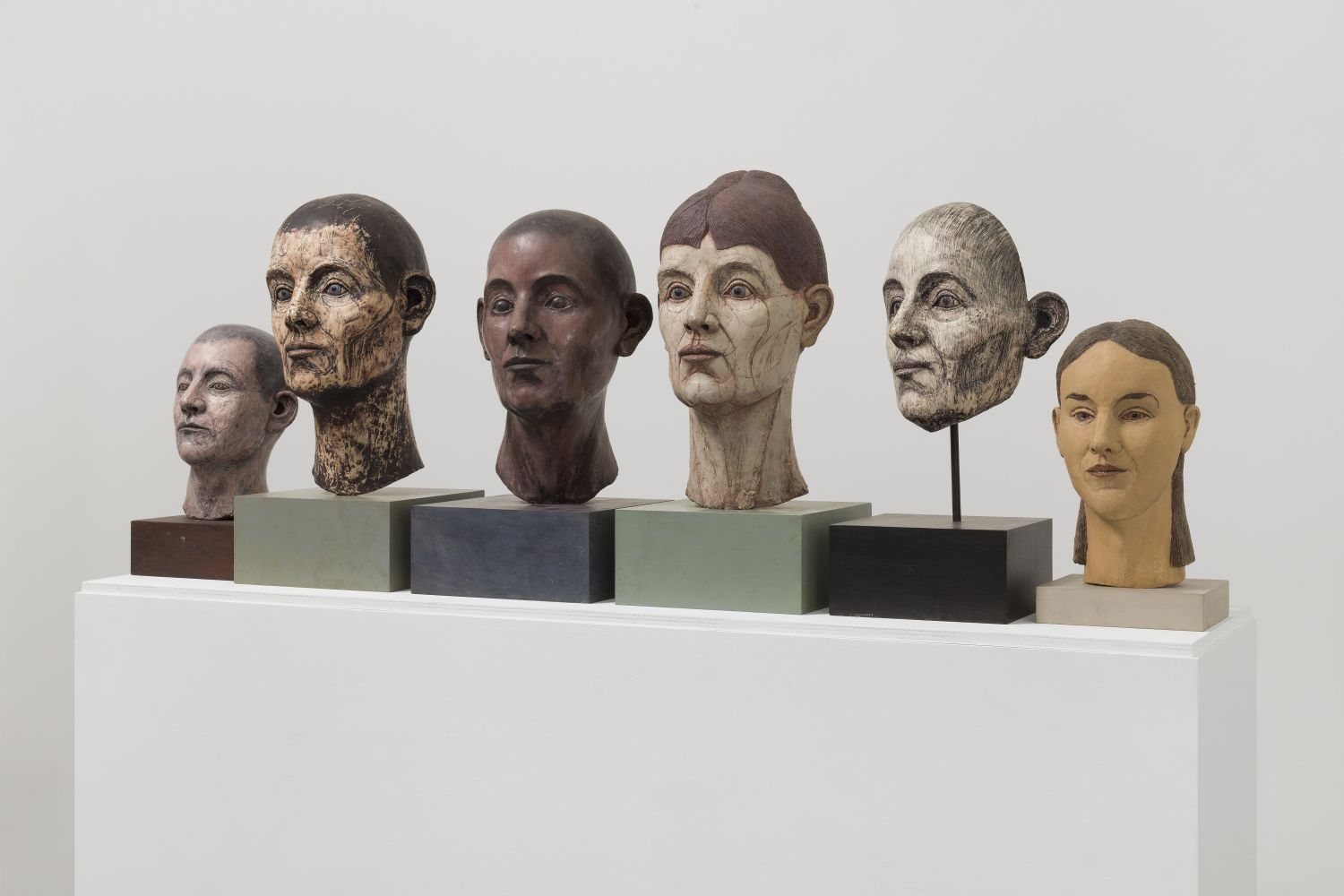 Side-view photograph featuring group of six different sculptural heads ranging in size, gender and color