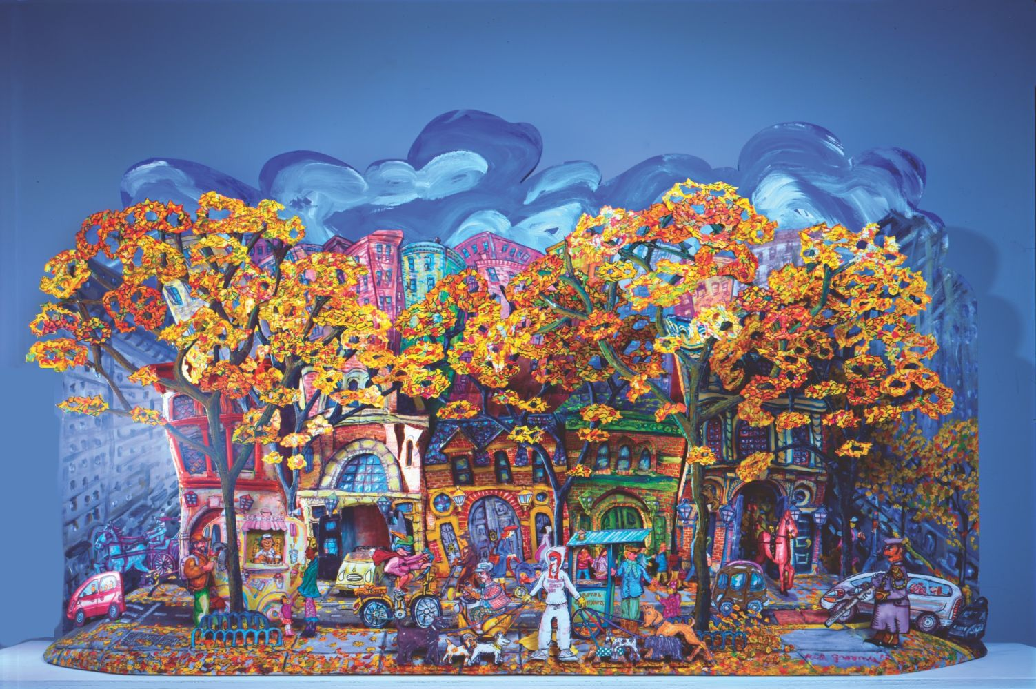Red Grooms artwork depicting a colorful street view of New York City in autumn using exaggerated perspective.
