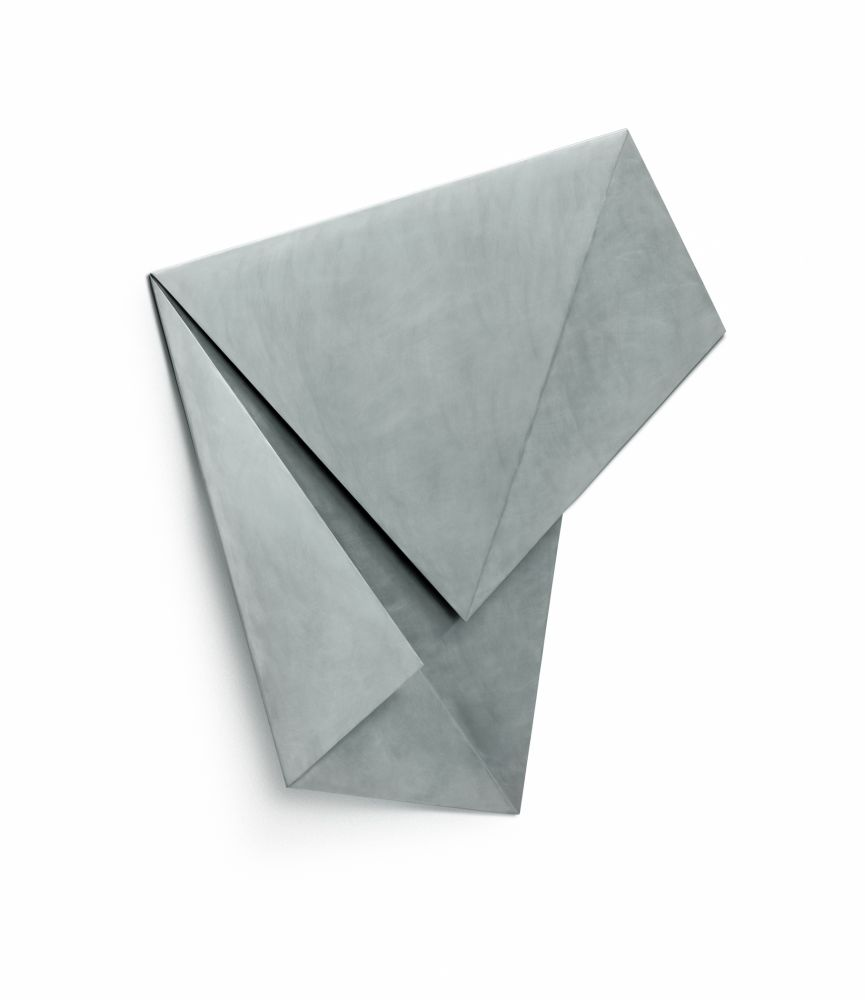 Aluminum sculpture in the form of folded paper