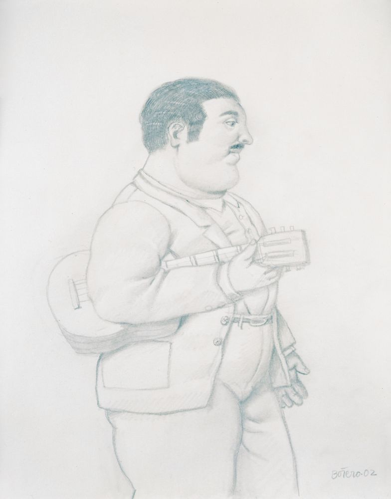 Pencil drawing of a man with a guitar standing in a profile view.