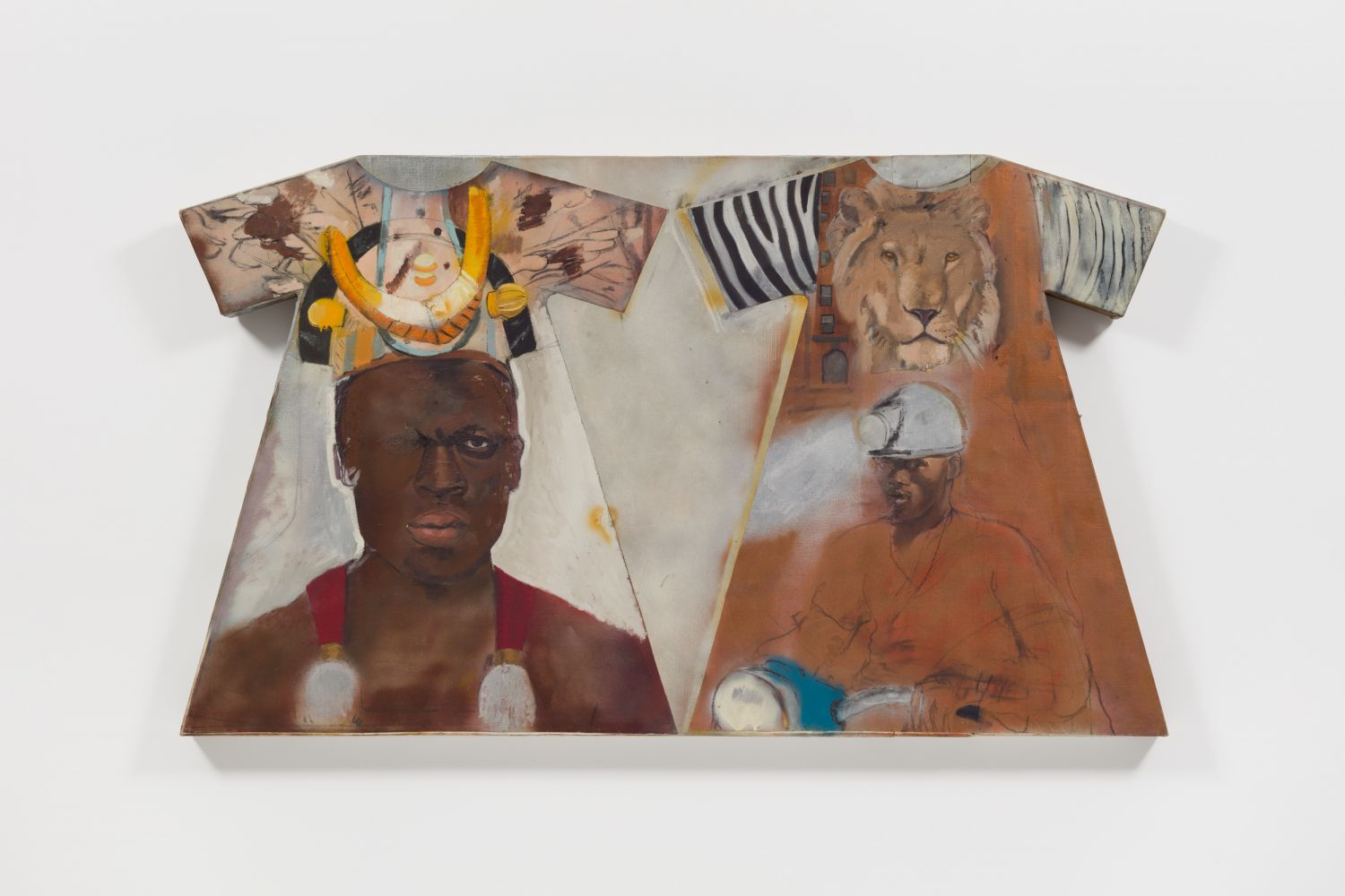 Oil and collage on canvas and wood construction by Larry Rivers featuring a the outline of two dresses filled with a figure and texturing; one with an animal motif and lion, the other with abstraction