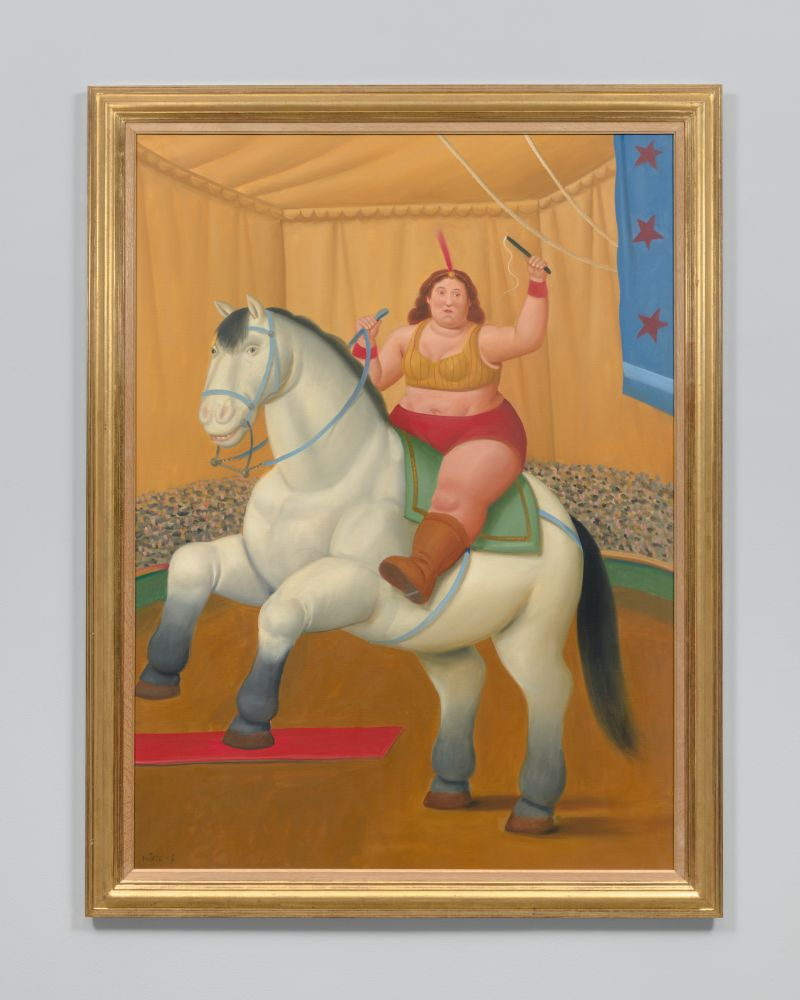 Framed oil painting of a woman on horse inside an orange circus tent.