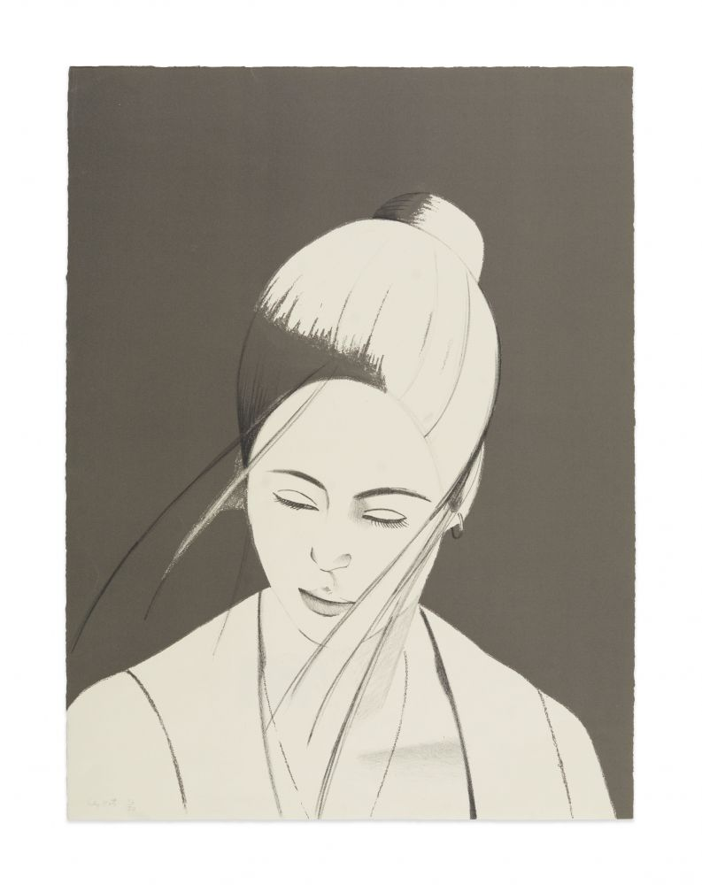 Lithograph by Alex Katz featuring the outline of a woman with her hair in a bun and some strands blowing across her face as she is looking downward against a grey background